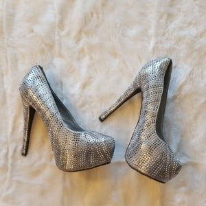 Breckelles Hidden Platform Silver Crystal Heels 10